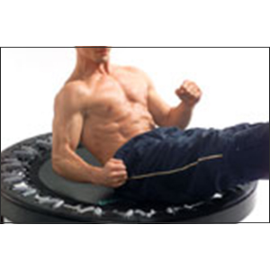 Man strengthening abs on a rebounder