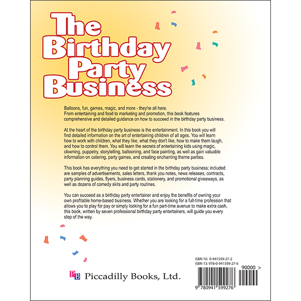 Birthday Party Business Back Cover