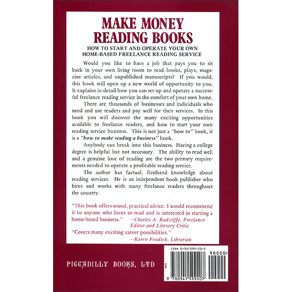 Make Money Reading Books Back Cover