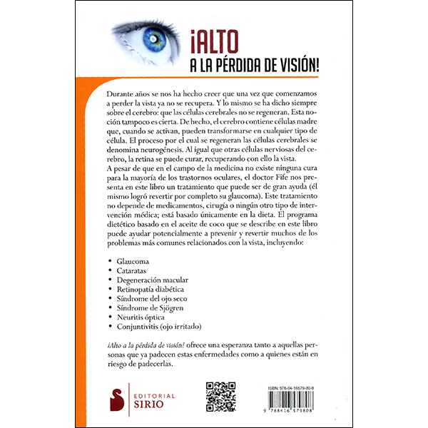 Stop Vision Loss Now Spanish Back Cover
